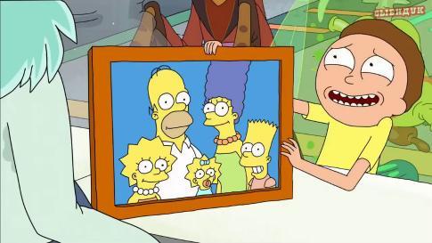 Рик равным образом Морти во гостях у Симпсонов конверсия Сыендук